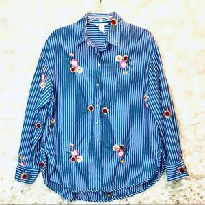Women H&M embroidered Button down striped shirt